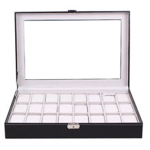 24 Grids Transparent Glass Black PU Leather Watch Box Jewelry Storage Case Organizer Classical Watches Display Casket(China)