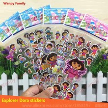 10 sheets/lot Dora Wall Stickers,Cute Dora toys stickers For Children's Birthday Gift Toy decor stickers wanpy family