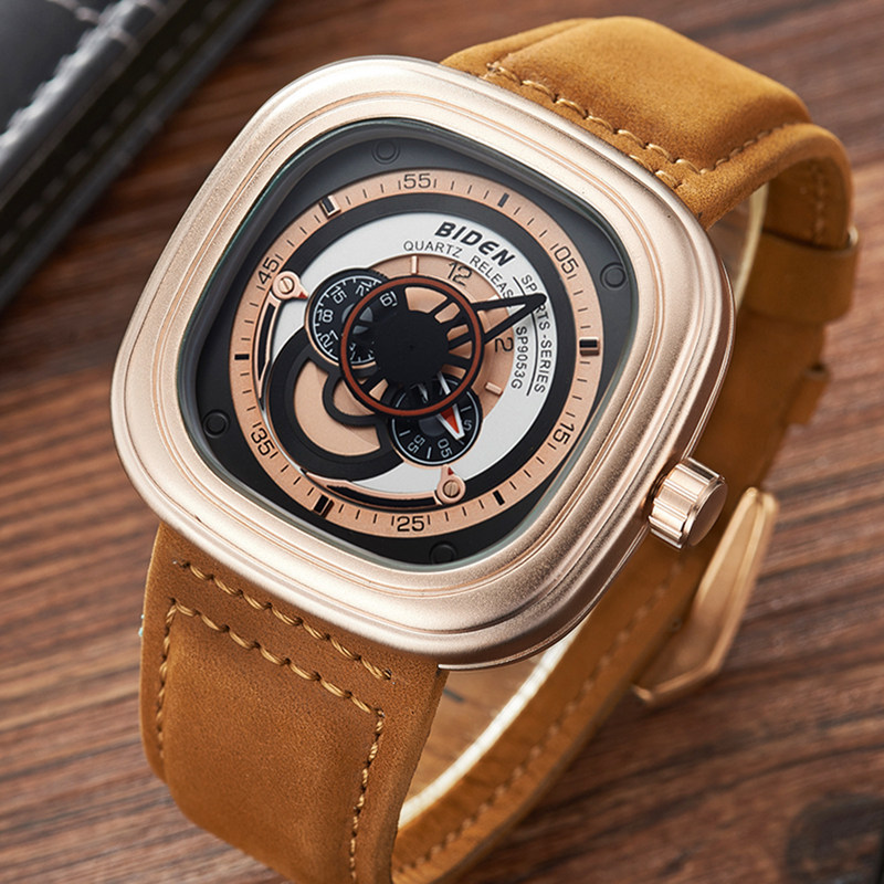 mens quartz leather watches square gold black Military sports man clocks luxury top brand male wristwatch waterproof original<br>