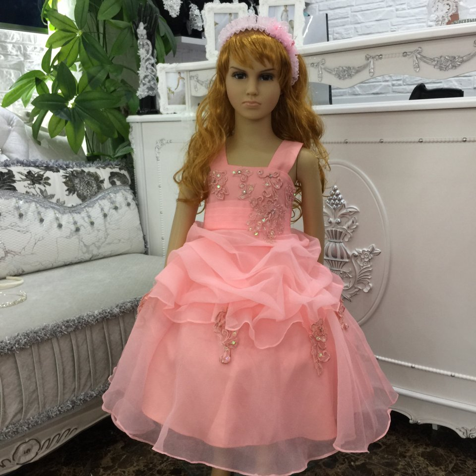 Hot Sales 2018 New Design Kids Party Dress Organza Child Ball Gown With Lace Appliques Peach Flower Girl Dresses For Weddings<br>