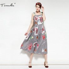 Truevoker Summer Designer Dress Women's High Quality Fancy Flower Printed Plaid Mid Calf Spaghetti Strap Vestido(China)