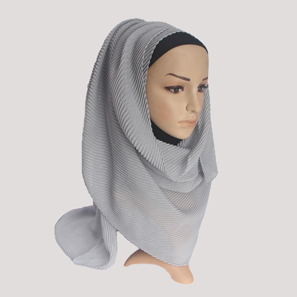 MISSKY Women Hijabs Solid Color Twill Creased Wrinkle Scarf Cotton and Linen Muslim Headscarf Lady Hood Turban 11
