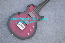 free shipping new fretless electric bass guitar with high quality hardware elm body in purple made in China +foam box F-1862