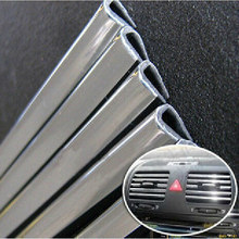 15M U Style DIY Car Interior Air Conditioner Outlet Vent Grille Chrome Decoration Strip Silvery Free shipping Drop shipping
