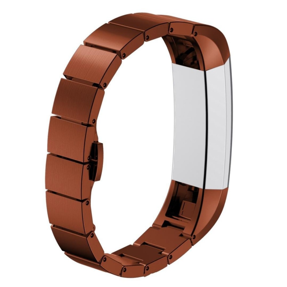 Gold Watchbands for Fitbit alta HR Stainless Steel Metal Replacement Smart Watch Band Bracelet with Double Button Folding Clasp<br>