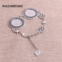 PULCHRITUDE 3pcs 22cm Alloy Antique Silver Chain Bracelet Hand Charm Round Cabochon base Setting Fit 20mm Dia Women Z0033