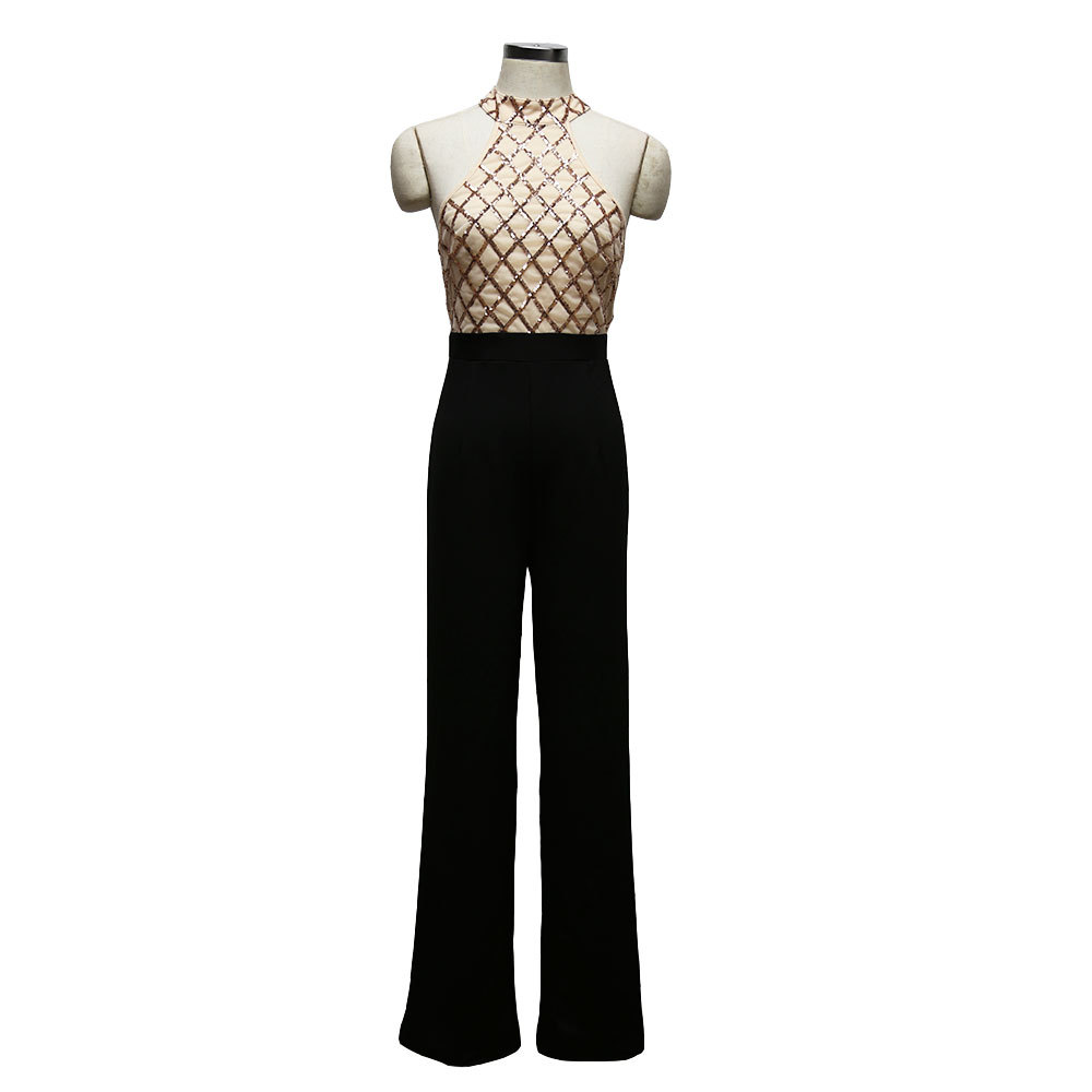 Women Sexy Halter Cold Shoulder Plaid Sequin Top Patchwork Jumpsuit Elegant Casual Party Long Pants Boot Cut Jumpsuit Back Zip 6