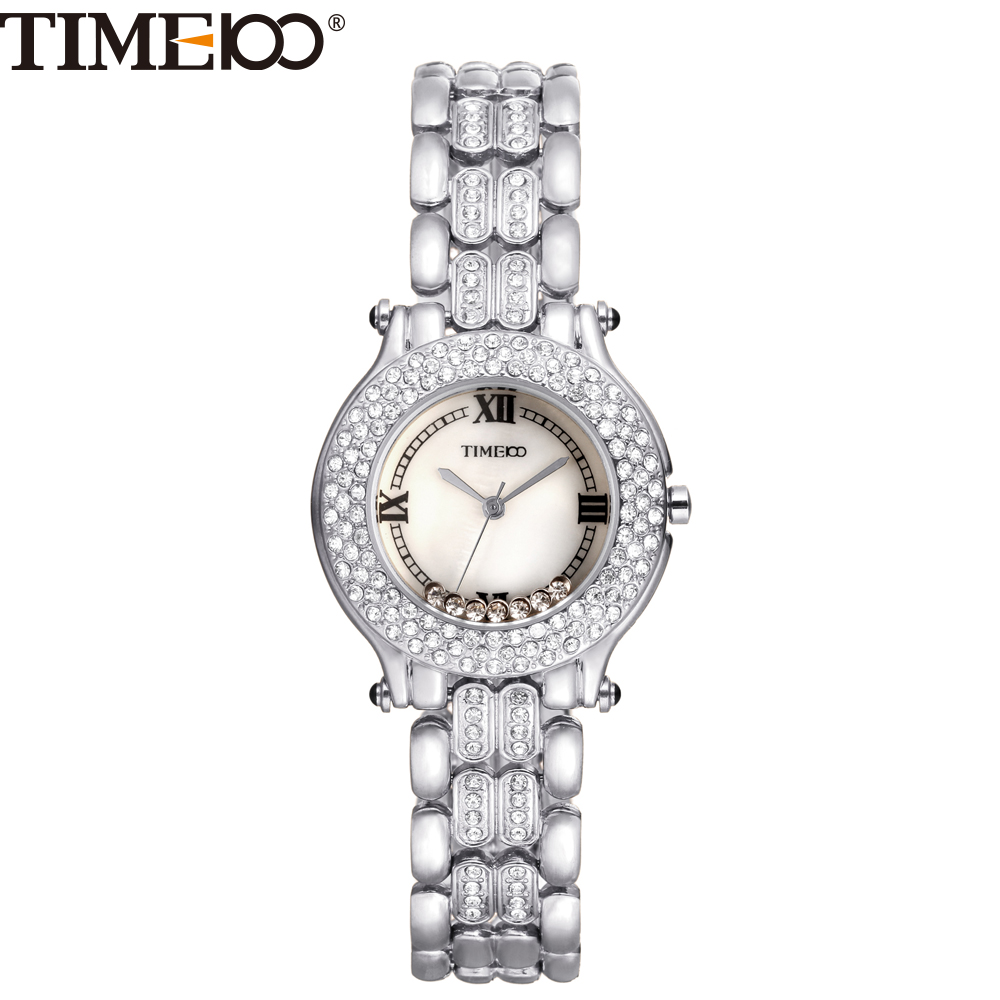 2016 New TIME100 Womens Watch Shell Dial Diamond Bezel Silver Alloy Strap Ladies Quartz Hand Wrist Watches For Women Clock<br>
