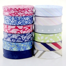 "Newest 20mm 3/4"" Floral Stripe Single Fold Bias Tape Ribbon Cotton Prefolded Bias Binding Tape Diy Craft Apparel Sewing Fabric"