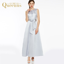 Queenus 2017 Women Party Dress Summer Autumn Lady A-Line Dres O-Neck Sleeveless Slim Bow Knot Ankle Length Women Party Dresses