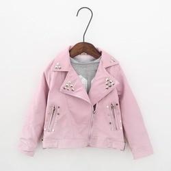 Демисезонная куртка из ПУ кожи для девочек, на возраст 2-7 лет