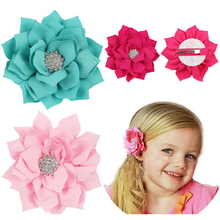 TWDVS Kids Headband Lotus Hair Clip Satin Diamonds Headwear  Pins Hair Clips Hair Flower Accessories
