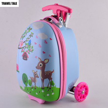 TRAVEL TALE 16 inch kids scooter suitcase skateboard rolling luggage for child(China)