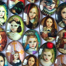 ZEROUP Oval glass cabochon girls pictures mixed pattern fit cameo base setting for jewelry embellishment flatback 20pcs/lot
