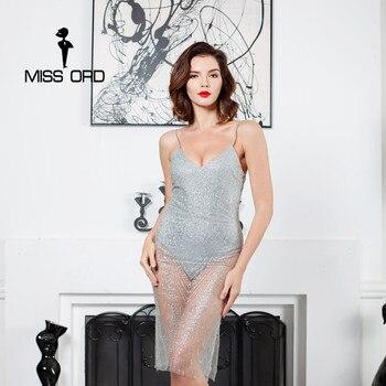 Missord 2017 sexy glitter v-cuello fuera del hombro de split dress ft8149
