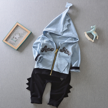 2017 new spring fashion baby Three-dimensional dinosaur sets hooded jacket + trousers suit infant twinset cotton outerwear set