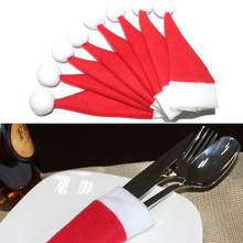 10 pcs Christmas Mini Bottle Hat Christmas Decorations for Home Hat Silverware Holder Mini Red Santa Claus Cutlery New Year