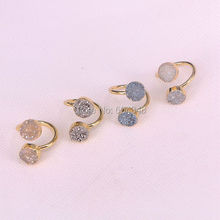 5pcs Natural Double Rings, Natural Titanium Ring Drusy Jewelry(China)