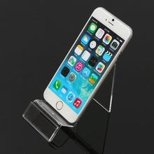 Generic 1Pc Transparent Plastic Display Stand Mobile Phone Show Stand Rack Bracket For iphone 5 6 7 plus For Meizu For Xiaomi(China)