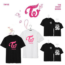 KPOP TWICE MOMO SANA MINA Shirt K-POP 2016 New Fashion Solid Cotton Camisas Short Sleeve T-shirts