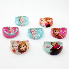 50pcs high quality Lovely Resin Cartoon Girls boys Kids Princess anna elsa Children Rings Wholesale Jewelry Lot(China)