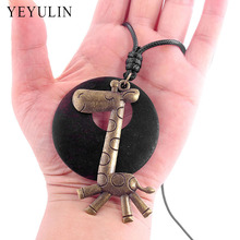 High Grade Wood Bead Bronze Color Alloy Giraffe Tree Charms statement Pendant Necklace For Women Jewelry