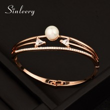SINLEERY New Design Bangle Simulated Pearl Hollow Fashion Female Simple Bracelets White & Rose Gold Color SL350M(China)