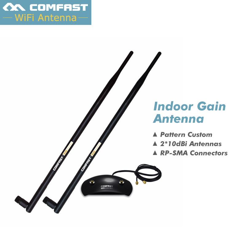 High Gain 2*10dBi Wireless Antennas Cable Long Coverage 20dBi 2.4GHz RP-SMA Indoor OMNI Antenna Wifi for PCI Card Modem Routers(China (Mainland))