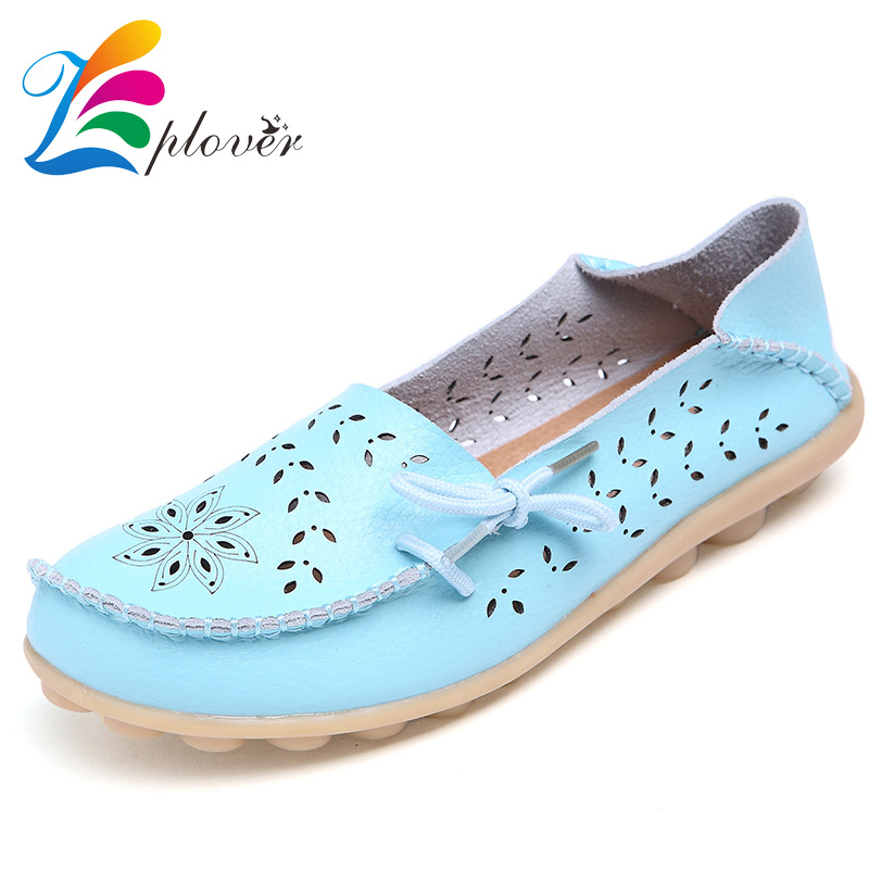Plus Size 2017 Ballet Summer Cut Out Women Genuine Leather Shoes Woman Flat Flexible Round Toe Nurse Casual Fashion Loafer<br><br>Aliexpress