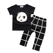 Panda Print Casual Baby Clothes Sets Black 9 Patterns Cotton Baby Girl T-Shirt Pants 1-6Years Children Outfits Sport Suit Grid