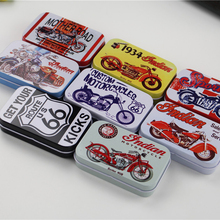 Cute Motorcycle Picture Mac Makeup Lipstick Box 8Piece/Lot Small Tin Box Safe Metal Container For Tea Sugar Coffee 9.5*6*2Cm