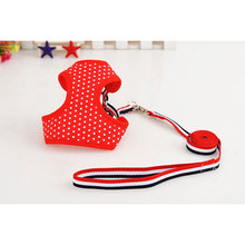 Cotton Dog Collar Lead Dog Harness Rope Chain Red Pet Mesh Dot Vest For Puppy Cat Collar Pets Chest Strap Leash