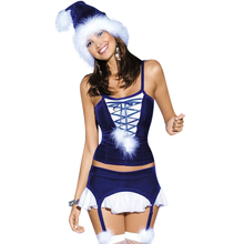 Hot Blue Santa Fancy Dress New Year Robe Clothing Sexy Unusual Royalblue Lace-up 3 Piece Blue Christmas Costume W204029