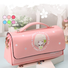 Kawaii Lovely School Pencil Case Large Capacity PU Leather Portable Pencil Bag Case For Girls Christmas Gift Stationery Supplies