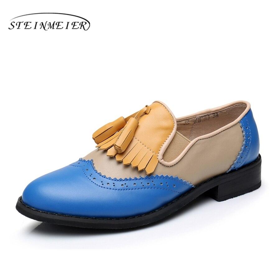 Genuine leather big woman US 11 designer vintage flat tassel shoes handmade Blue yellow 2017 oxford shoes for women fur<br>