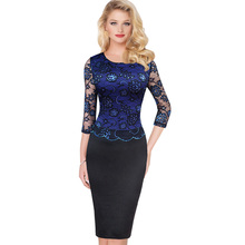 Vfemage Womens Elegant Vintage Floral Flower Lace Slim See Through Three Quarter Patchwork Party Club Bodycon Sheath Dress 1842