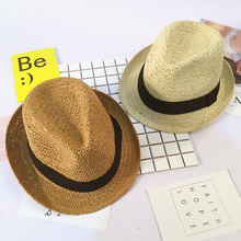100% Handmade Summer Hats for Children Casual Solid Straw Hat Panama Cowboy Caps Boys Girls Hollow Out Straw Sunhats