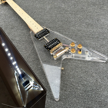Acrylic Flying V Shape Electric guitar, Transparent Body & Maple fingerboar with LED Light, Guitarra, Gold Hardware, Wholesale