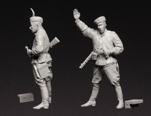 Scale Models 1/ 35 Red Army Officer with gun soldier   figure Historical WWII Resin Model Free Shipping