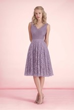 New Fashion Lilac Lace Knee Length Bridesmaid Dresses V Neck Sleeveless Wedding Party Dress