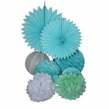 Paper Fan+ Honeycomb Ball+Paper Flower Ball  Paper Lantern Wedding Decoration  Blue And White Sets Baby Shower Decor