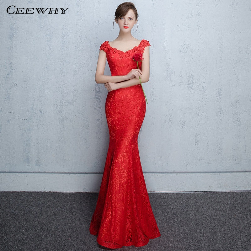 CEEWHY Red Mermaid Evening Dresses Long Formal Evening Gowns Dresses Beading Prom Dresses Banquet Party Gowns Vestido de Festa