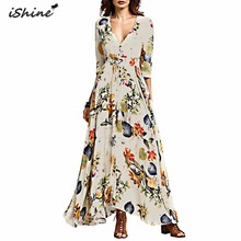iShine 2017 Women 's Bohemian Retro National Floral Style V-Neck Sexy Beach Long Maxi Dress White Split Slim Ladies Summer Dress
