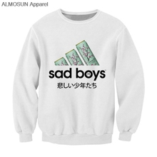 ALMOSUN Sad Boys Japanese Words 3D All Over Printed Crewneck Pullover Sweatshirt Hipster Harajuku Streetwear Boys and Girls