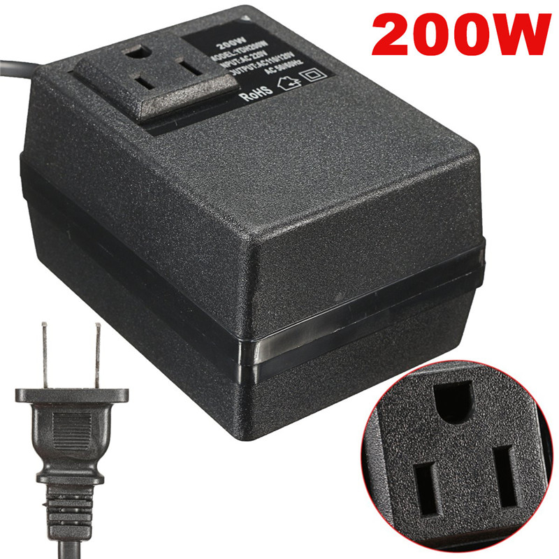200W 220V 240V to 110V 120V Electronic International Travel Power Converter<br>