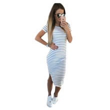 Buy Summer Women Dress Casual Short Sleeve O Neck Slim Striped Bodycon Dress Side Split Vestidos Plus Size Women Clothing LJ3904T for $9.12 in AliExpress store