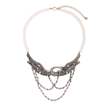 2 Colors Crystal Swan Necklace Imitation Pearl Beads Chain Bird Vintage Necklace Women Statement Jewelry Collares