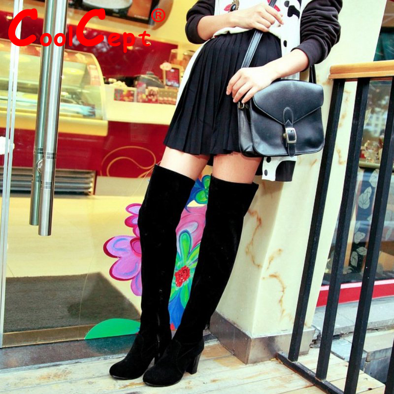 Women Over Knee Long High Heel Boots Woman Snow Botas Masculina Fashion Winter Warm Boot Footwear Shoes EUR Size 34-43  AA236<br><br>Aliexpress