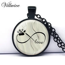 2017 Infinity Symbol with Dog Paw Picture Pendant Necklace Photo Pendant Womens Jewelry Statement Necklace