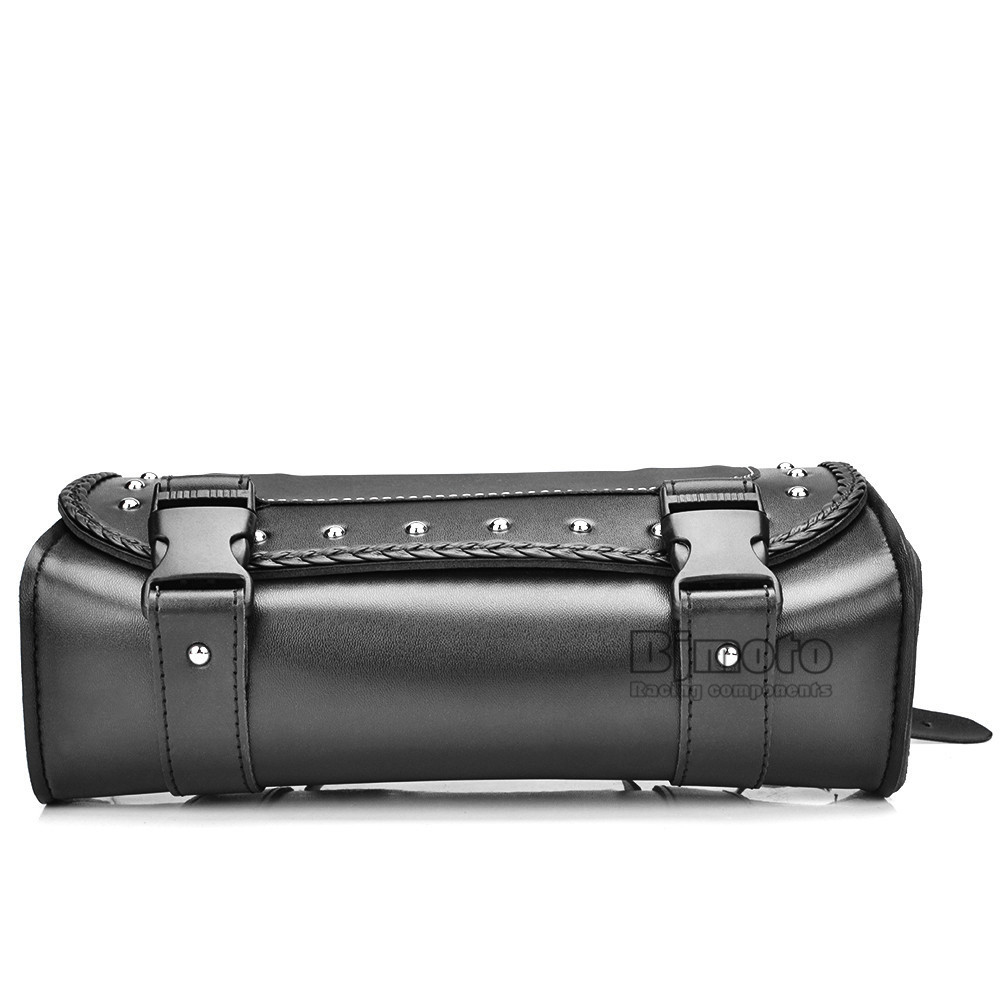 Black Motorcycle Saddlebag Bag PU Leather Luggage Saddle Bags For Harley Sportster Pannier Side Saddle Bag (5)